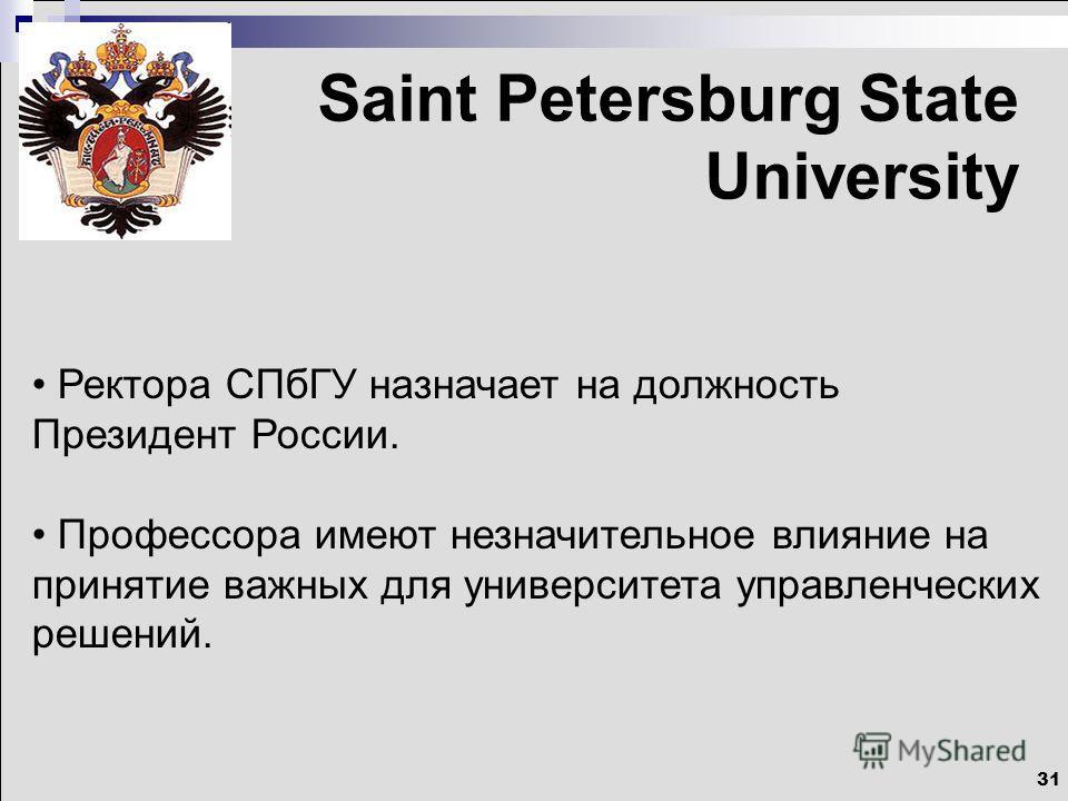 31 Saint Petersburg State University Ректора СПбГУ назначает на должность Президент России. Профессора имеют незначительное влияние на принятие важных для университета управленческих решений.