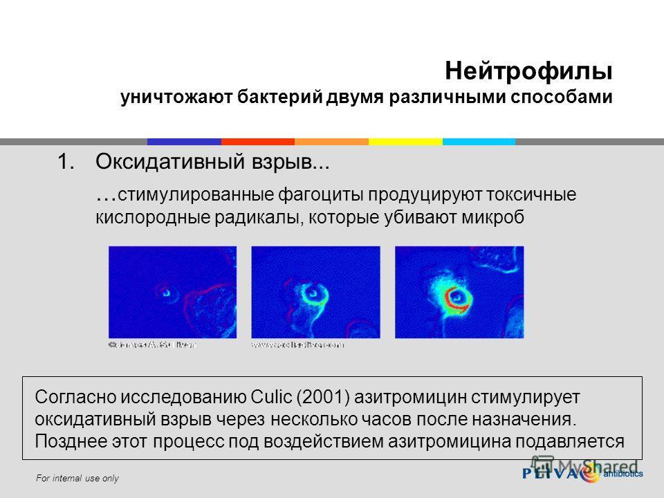 For internal use only Нейтрофилы уничтожают бактерий двумя различными способами 1.Оксидативный взрыв... … стимулированные фагоциты продуцируют токсичные кислородные радикалы, которые убивают микроб Согласно исследованию Culic (2001) азитромицин стиму