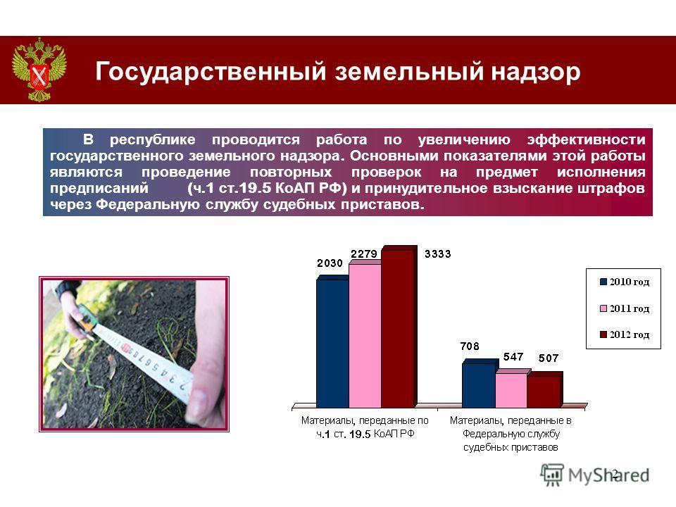2 В республике проводится работа по увеличению эффективности государственного земельного надзора. Основными показателями этой работы являются проведение повторных проверок на предмет исполнения предписаний ( ч.1 ст.19.5 КоАП РФ ) и принудительное взы