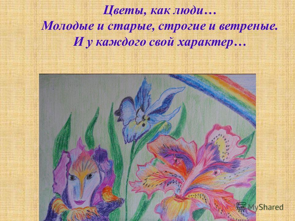 Цветы, как люди … Молодые и старые, строгие и ветреные. И у каждого свой характер …