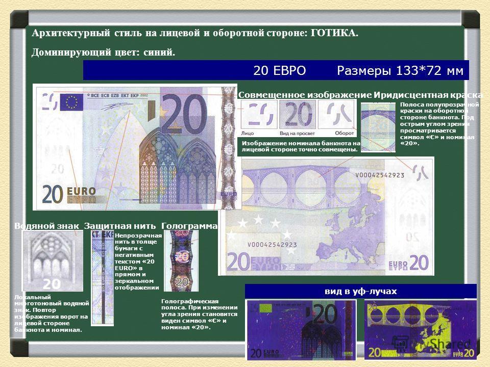 Совмещенное изображение Изображение номинала банкнота на лицевой стороне точно совмещены. Иридисцентная краска Полоса полупрозрачной краски на оборотной стороне банкнота. Под острым углом зрения просматривается символ «» и номинал «20». Водяной знак