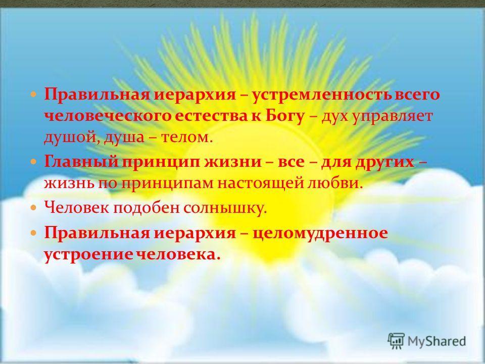 Правильная иерархия – устремленность всего человеческого естества к Богу – дух управляет душой, душа – телом. Главный принцип жизни – все – для других – жизнь по принципам настоящей любви. Человек подобен солнышку. Правильная иерархия – целомудренное