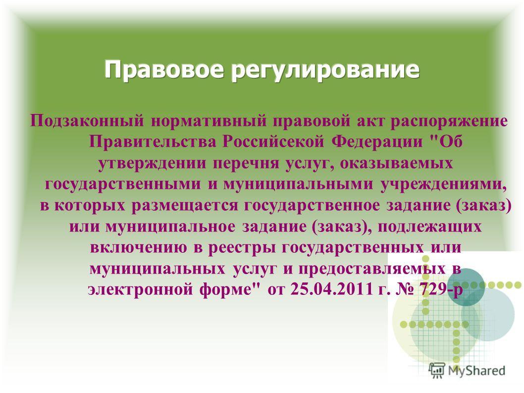 Подзаконный нормативный правовой акт распоряжение Правительства Российсекой Федерации