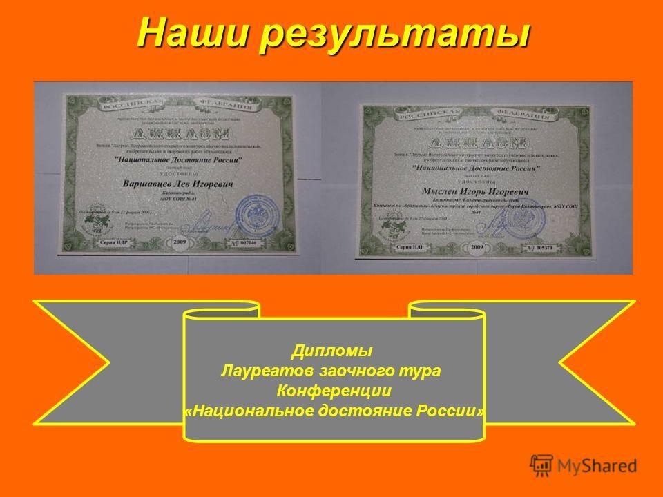Наши результаты Дипломы Лауреатов заочного тура Конференции «Национальное достояние России»