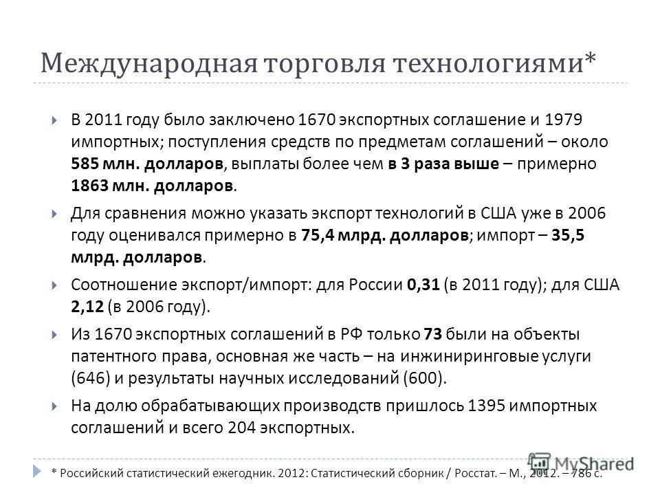 Международная торговля технологиями * В 2011 году было заключено 1670 экспортных соглашение и 1979 импортных ; поступления средств по предметам соглашений – около 585 млн. долларов, выплаты более чем в 3 раза выше – примерно 1863 млн. долларов. Для с