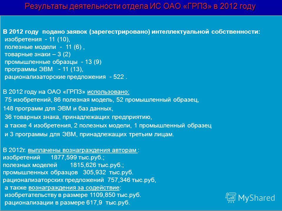 Результаты деятельности отдела ИС ОАО «ГРПЗ» в 2012 году В 2012 году подано заявок (зарегестрировано) интеллектуальной собственности: изобретения - 11 (10), полезные модели - 11 (6), товарные знаки – 3 (2) промышленные образцы - 13 (9) программы ЭВМ