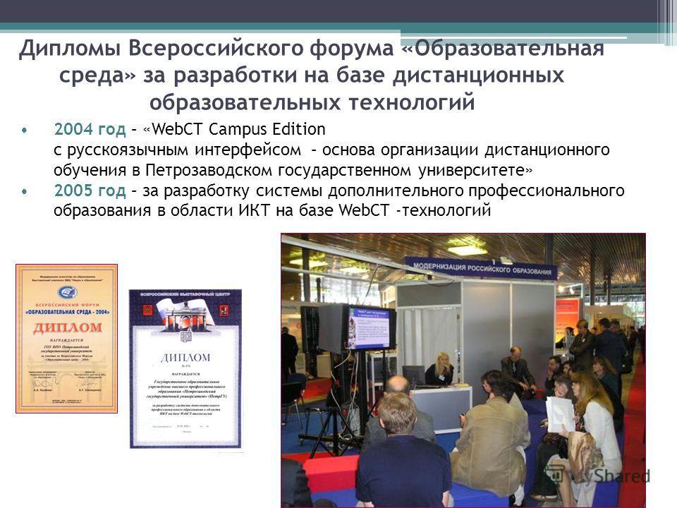 Дипломы Всероссийского форума «Образовательная среда» за разработки на базе дистанционных образовательных технологий 2004 год – «WebCT Campus Edition с русскоязычным интерфейсом – основа организации дистанционного обучения в Петрозаводском государств