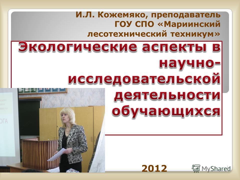 И.Л. Кожемяко, преподаватель ГОУ СПО «Мариинский лесотехнический техникум» 1 2012