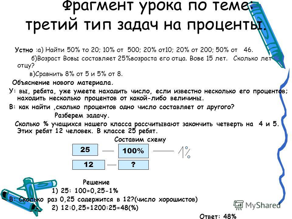 Фрагмент урока по теме: третий тип задач на проценты. Устно :а) Найти 50% то 20; 10% от 500; 20% от10; 20% от 200; 50% от 46. б)Возраст Вовы составляет 25%возраста его отца. Вове 15 лет. Сколько лет отцу? в)Сравнить 8% от 5 и 5% от 8. Объяснение ново