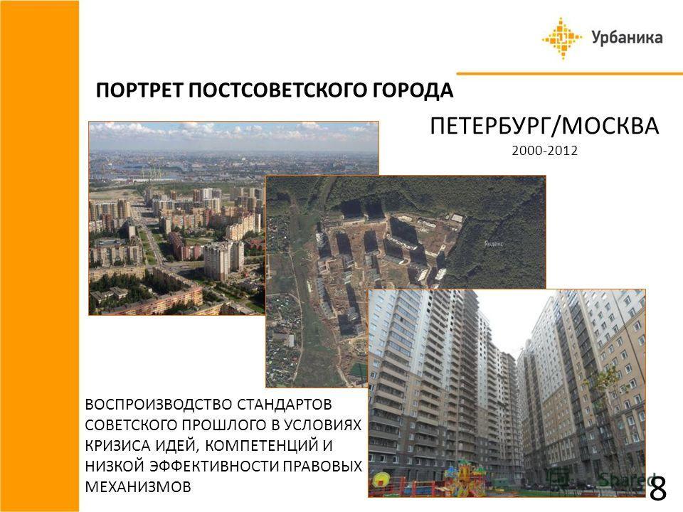 ПОРТРЕТ ПОСТСОВЕТСКОГО ГОРОДА ПЕТЕРБУРГ/МОСКВА 2000-2012 ВОСПРОИЗВОДСТВО СТАНДАРТОВ СОВЕТСКОГО ПРОШЛОГО В УСЛОВИЯХ КРИЗИСА ИДЕЙ, КОМПЕТЕНЦИЙ И НИЗКОЙ ЭФФЕКТИВНОСТИ ПРАВОВЫХ МЕХАНИЗМОВ 8