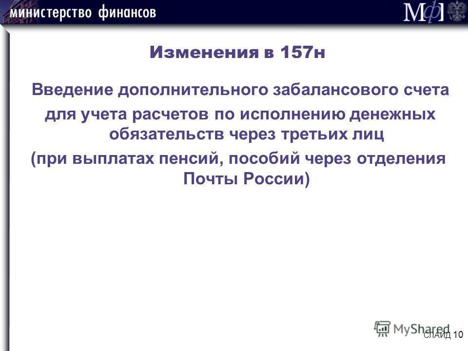 Изменения в 157н Введение дополнительного забалансового счета для учета расчетов по исполнению денежных обязательств через третьих лиц (при выплатах пенсий, пособий через отделения Почты России) СЛАЙД 10