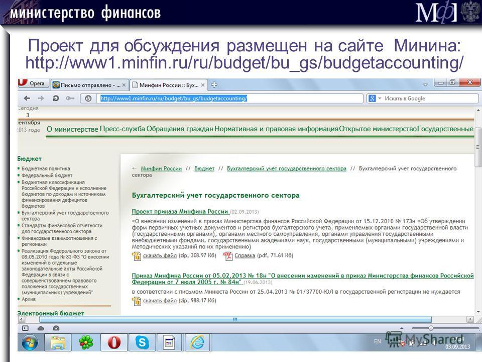 Проект для обсуждения размещен на сайте Минина: http://www1.minfin.ru/ru/budget/bu_gs/budgetaccounting/ СЛАЙД 20