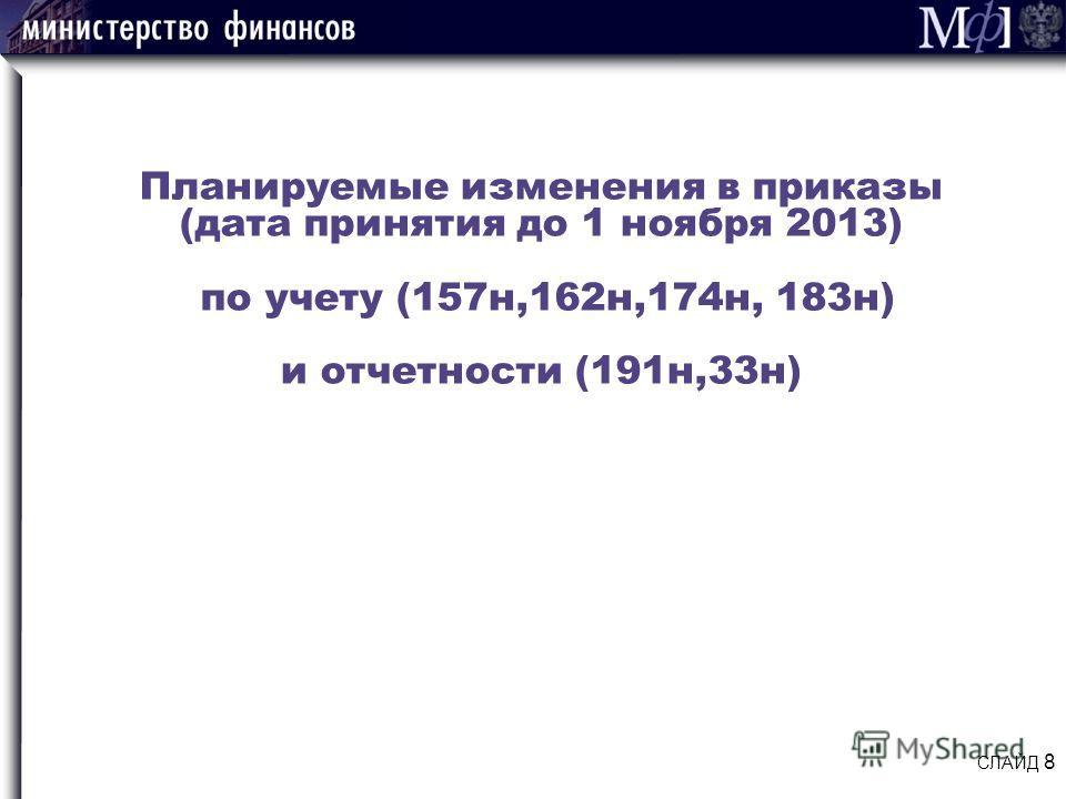 Планируемые изменения в приказы (дата принятия до 1 ноября 2013) по учету (157н,162н,174н, 183н) и отчетности (191н,33н) СЛАЙД 8