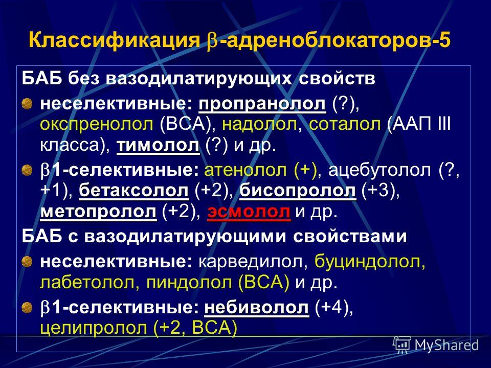 Классификация -адреноблокаторов-5 БАБ без вазодилатирующих свойств пропранолол тимолол неселективные: пропранолол (?), окспренолол (ВСА), надолол, соталол (ААП III класса), тимолол (?) и др. бетаксололбисопролол метопрололэсмолол 1-селективные: атено