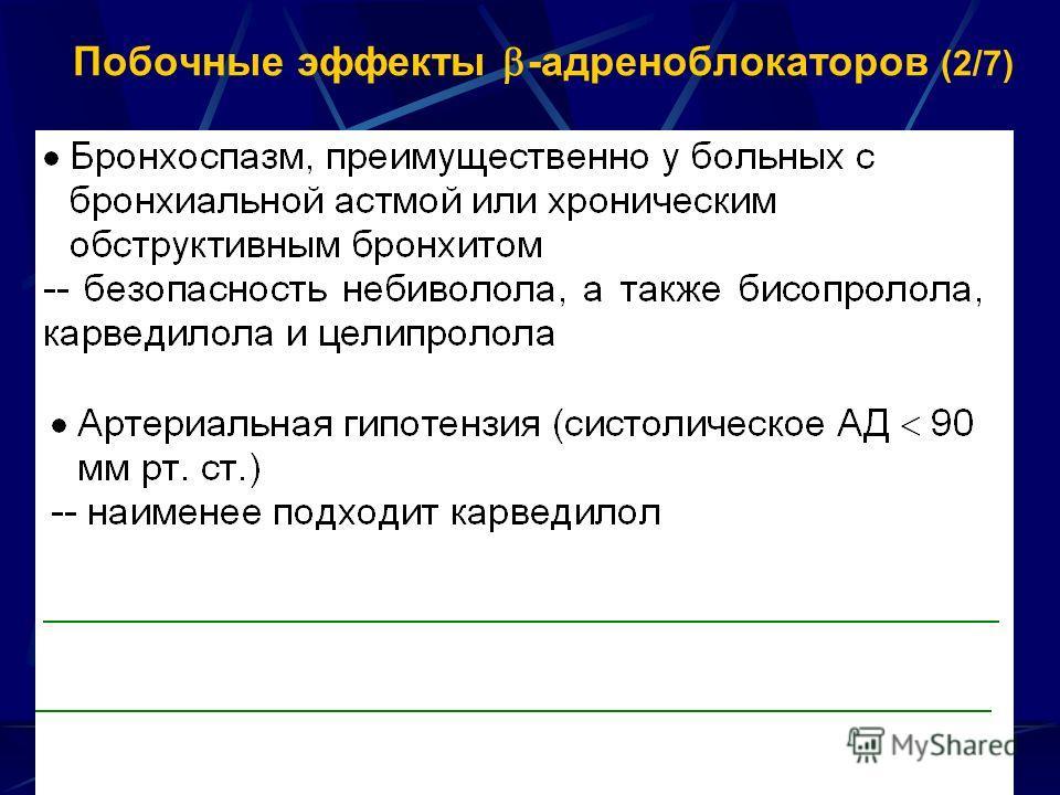 Побочные эффекты -адреноблокаторов (2/7)