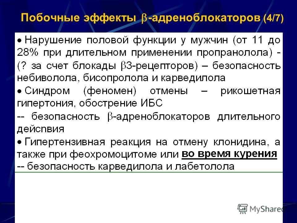 Побочные эффекты -адреноблокаторов (4/7)