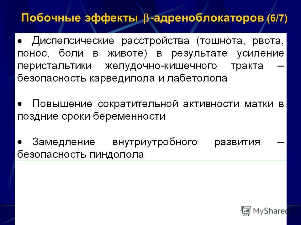 Побочные эффекты -адреноблокаторов (6/7)
