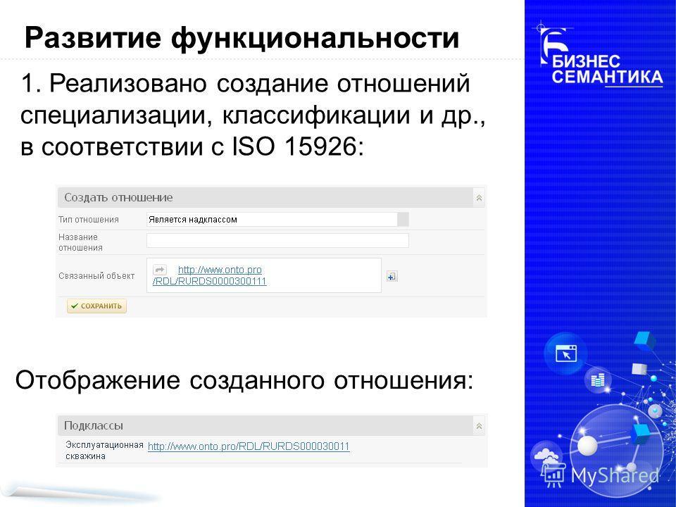 1. Реализовано создание отношений специализации, классификации и др., в соответствии с ISO 15926: Развитие функциональности Отображение созданного отношения: