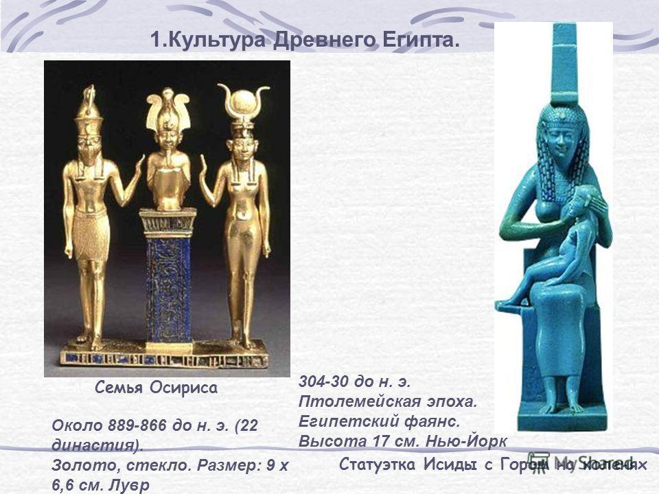 1.Культура Древнего Египта. Семья Осириса Около 889-866 до н. э. (22 династия). Золото, стекло. Размер: 9 х 6,6 см. Лувр Статуэтка Исиды с Гором на коленях 304-30 до н. э. Птолемейская эпоха. Египетский фаянс. Высота 17 см. Нью-Йорк