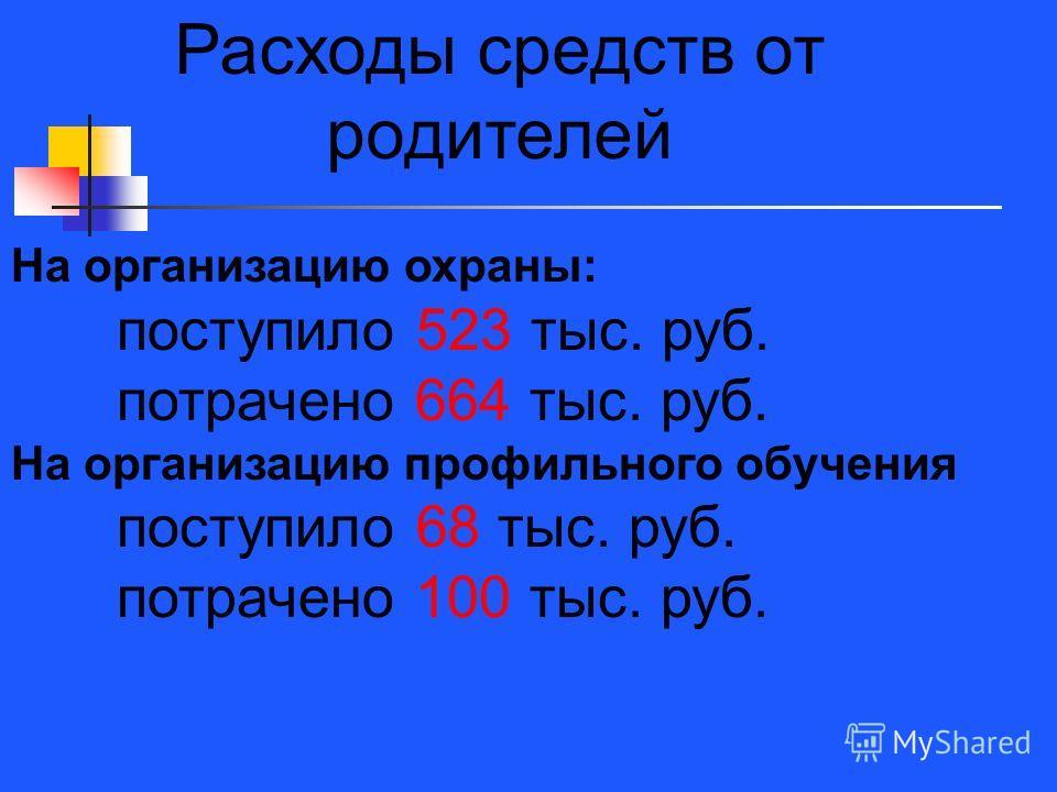 Расходы средств от родителей На организацию охраны: поступило 523 тыс. руб. потрачено 664 тыс. руб. На организацию профильного обучения поступило 68 тыс. руб. потрачено 100 тыс. руб.