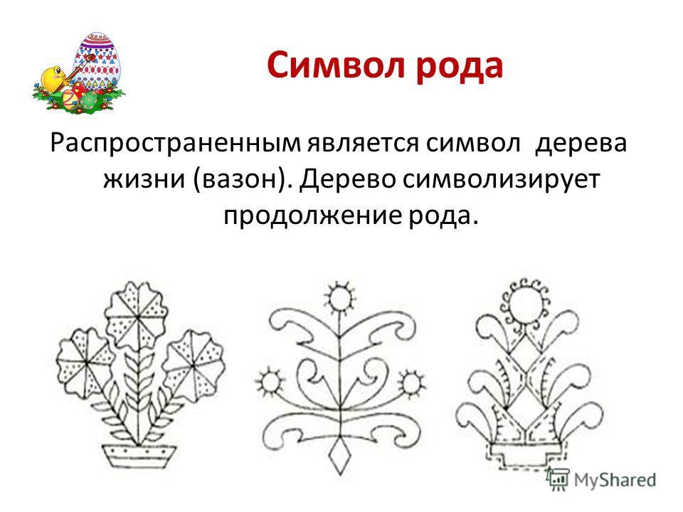 Символ рода Распространенным является символ дерева жизни (вазон). Дерево символизирует продолжение рода.