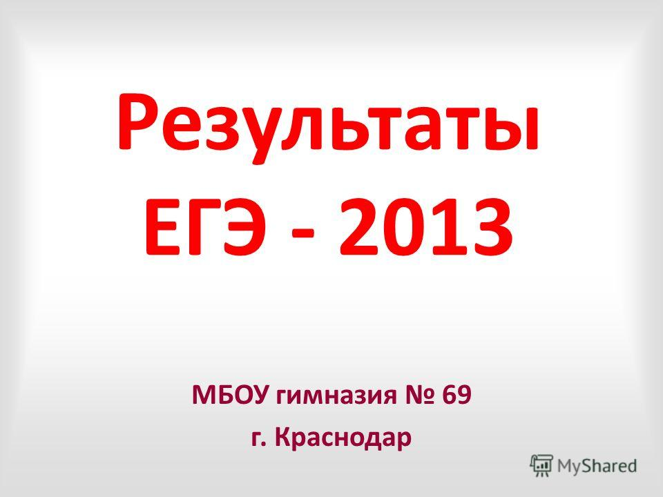 Результаты ЕГЭ - 2013 МБОУ гимназия 69 г. Краснодар