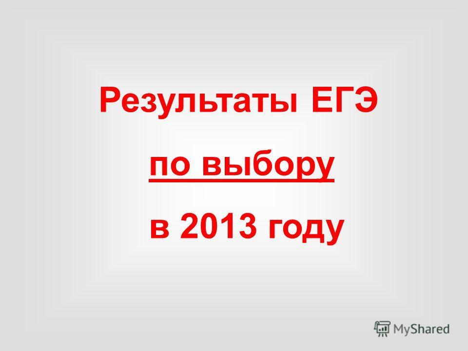 Результаты ЕГЭ по выбору в 2013 году