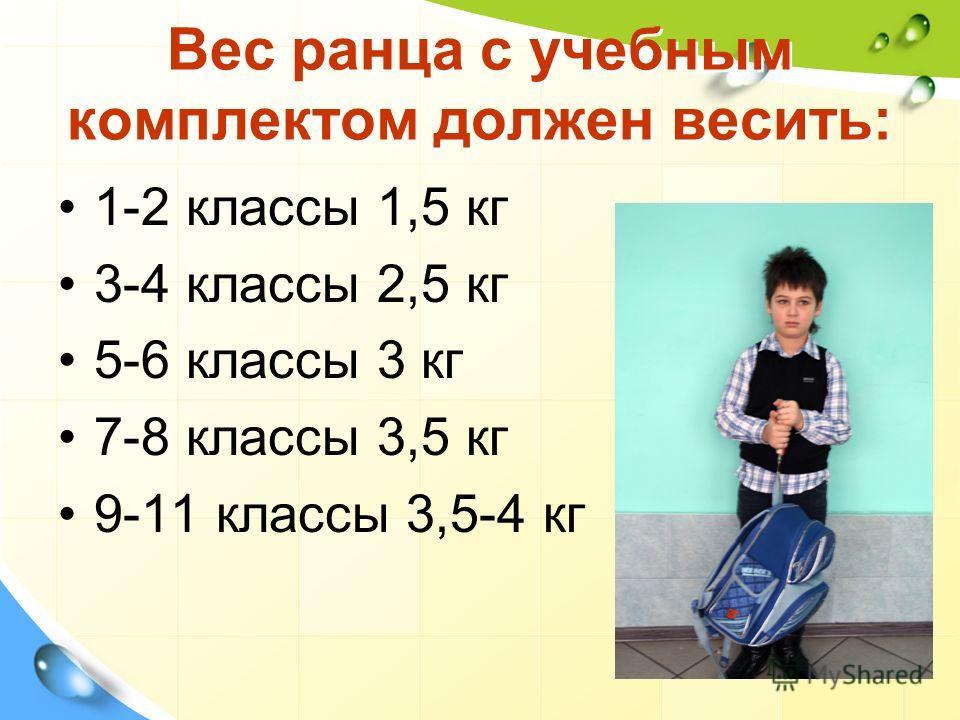 Вес ранца с учебным комплектом должен весить: 1-2 классы 1,5 кг 3-4 классы 2,5 кг 5-6 классы 3 кг 7-8 классы 3,5 кг 9-11 классы 3,5-4 кг