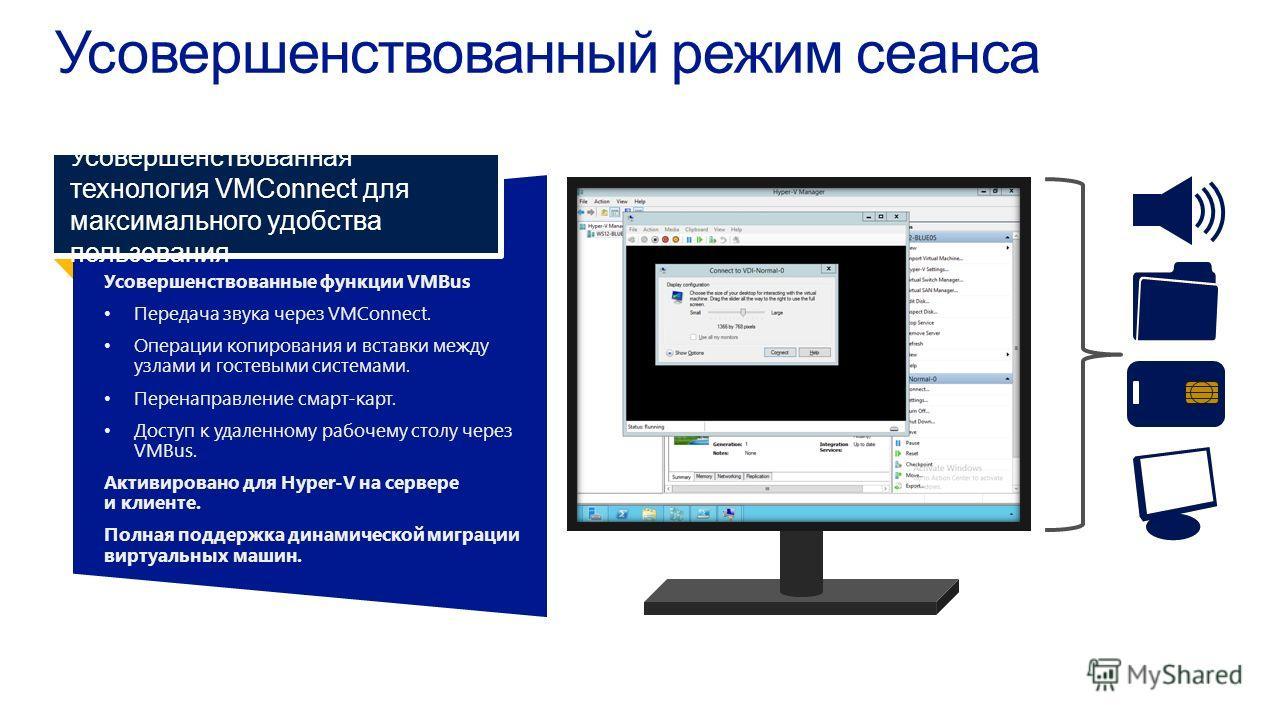 Усовершенствованные функции VMBus Передача звука через VMConnect. Операции копирования и вставки междуузлами и гостевыми системами. Перенаправление смарт-карт. Доступ к удаленному рабочему столу черезVMBus. Активировано для Hyper-V на сервереи клиент