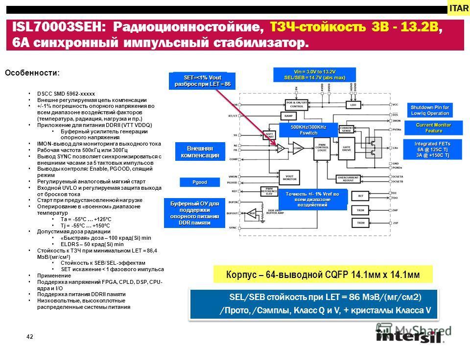 42 ISL70003SEH: Радиоционностойкие, ТЗЧ-стойкость 3В - 13.2В, 6A синхронный импульсный стабилизатор. ITAR Особенности: DSCC SMD 5962-xxxxx Внешне регулируемая цепь компенсации +/-1% погрешность опорного напряжения во всем диапазоне воздействий фактор