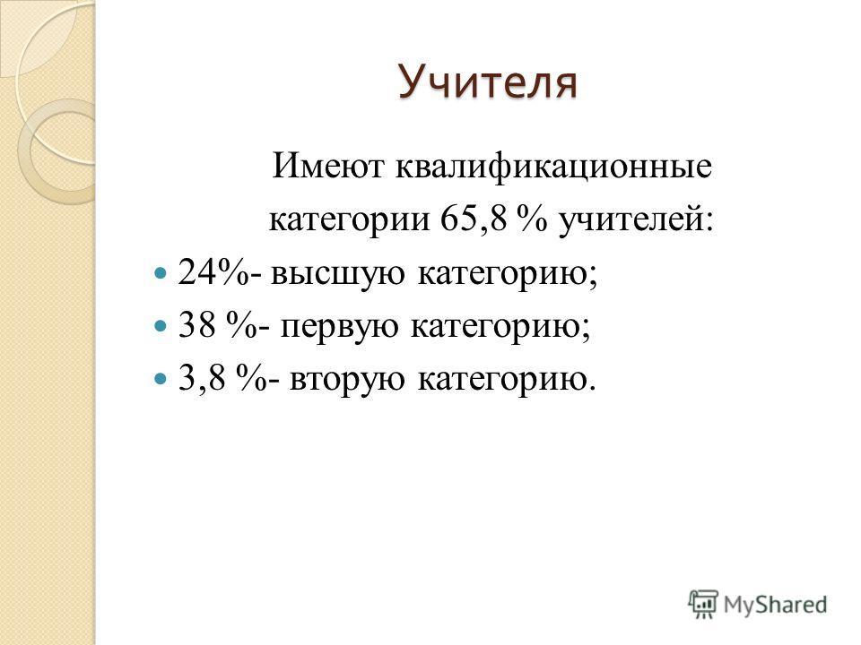 Учителя Имеют квалификационные категории 65,8 % учителей: 24%- высшую категорию; 38 %- первую категорию; 3,8 %- вторую категорию.