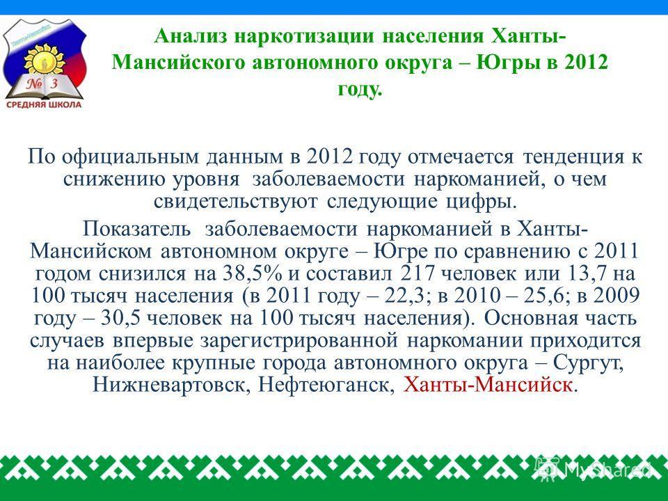 Анализ наркотизации населения Ханты- Мансийского автономного округа – Югры в 2012 году. По официальным данным в 2012 году отмечается тенденция к снижению уровня заболеваемости наркоманией, о чем свидетельствуют следующие цифры. Показатель заболеваемо