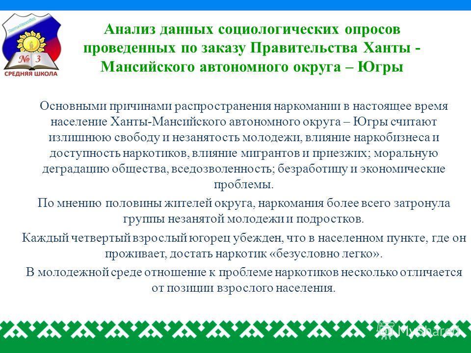 Анализ данных социологических опросов проведенных по заказу Правительства Ханты - Мансийского автономного округа – Югры Основными причинами распространения наркомании в настоящее время население Ханты-Мансийского автономного округа – Югры считают изл