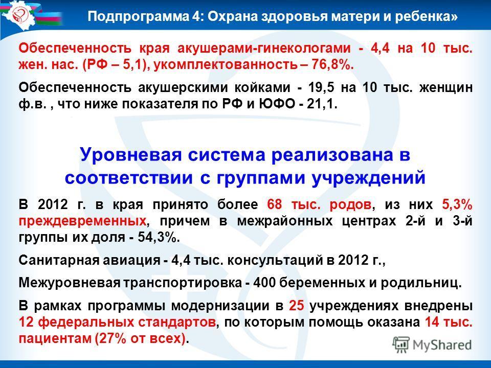 Обеспеченность края акушерами-гинекологами - 4,4 на 10 тыс. жен. нас. (РФ – 5,1), укомплектованность – 76,8%. Обеспеченность акушерскими койками - 19,5 на 10 тыс. женщин ф.в., что ниже показателя по РФ и ЮФО - 21,1. Уровневая система реализована в со