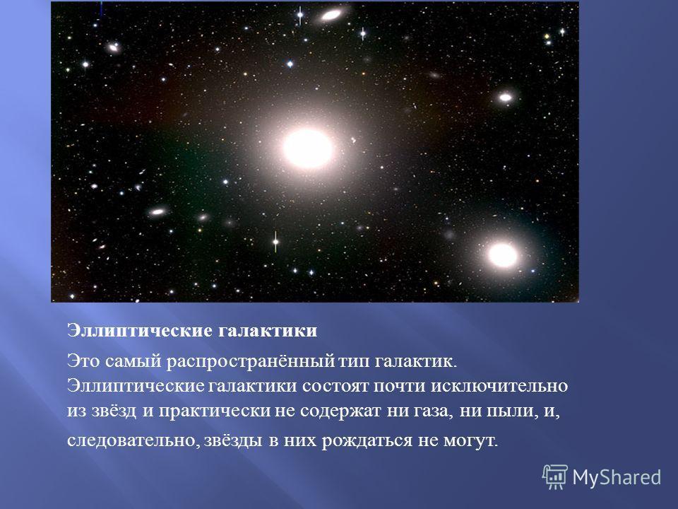 Эллиптические галактики Это самый распространённый тип галактик. Эллиптические галактики состоят почти исключительно из звёзд и практически не содержат ни газа, ни пыли, и, следовательно, звёзды в них рождаться не могут.