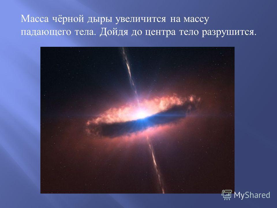 Масса чёрной дыры увеличится на массу падающего тела. Дойдя до центра тело разрушится.