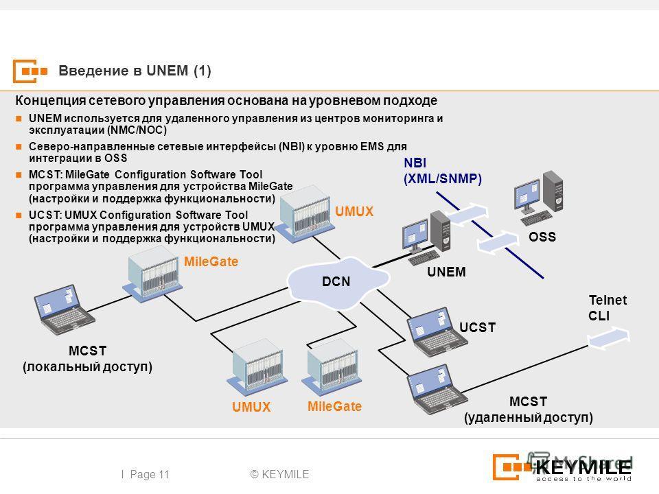 I Page 11 Введение в UNEM (1) OSS UNEM MileGate NBI (XML/SNMP) MCST (удаленный доступ) Telnet CLI UMUX MileGate UMUX UCST MCST (локальный доступ) DCN Концепция сетевого управления основана на уровневом подходе UNEM используется для удаленного управле
