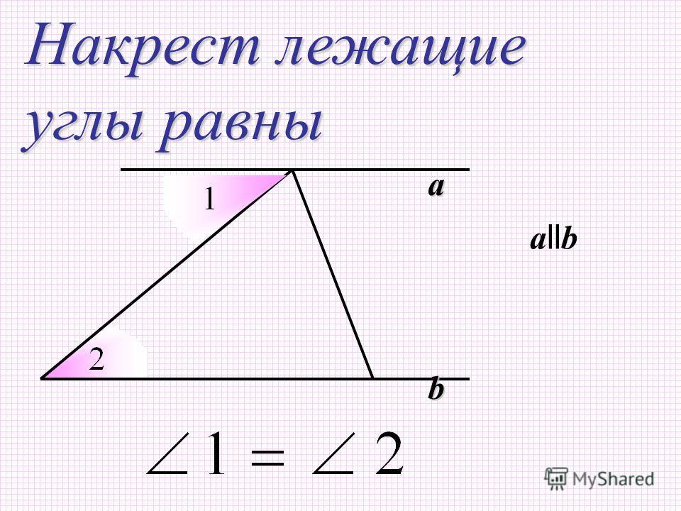 a b Накрест лежащие углы равны a ll b