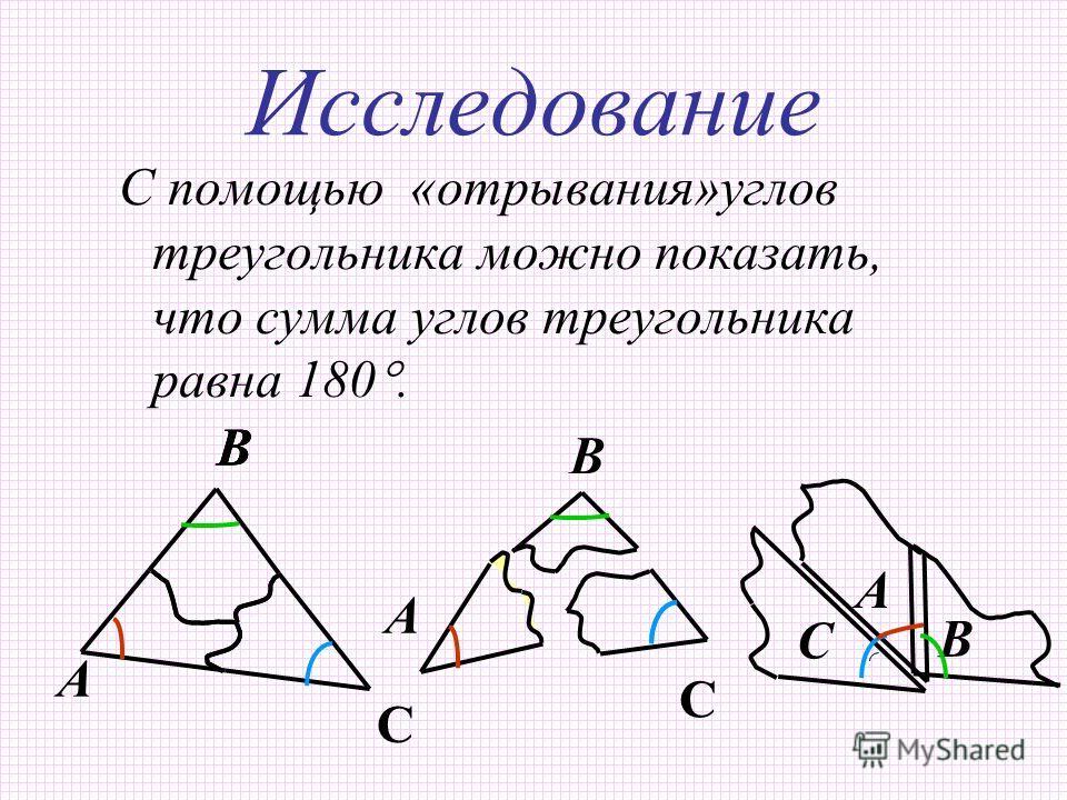 Исследование С помощью «отрывания»углов треугольника можно показать, что сумма углов треугольника равна 180. В А В С ВВ В С А С А