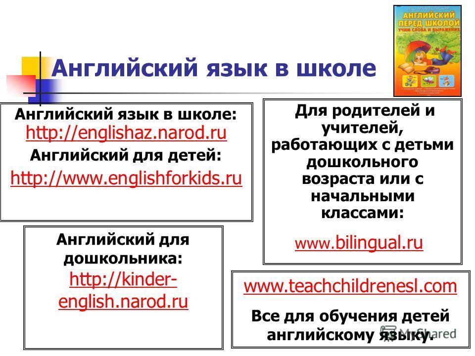 Английский язык в школе Английский язык в школе: http://englishaz.narod.ru Английский для детей: http://www.englishforkids.ru Для родителей и учителей, работающих с детьми дошкольного возраста или с начальными классами: www. bilingual.ruwww. bilingua