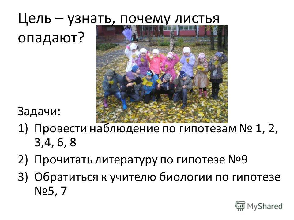 Цель – узнать, почему листья опадают? Задачи: 1)Провести наблюдение по гипотезам 1, 2, 3,4, 6, 8 2)Прочитать литературу по гипотезе 9 3)Обратиться к учителю биологии по гипотезе 5, 7