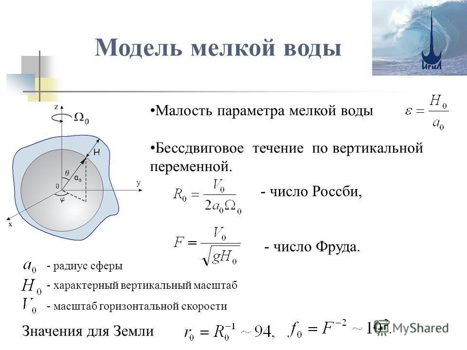 Модель мелкой воды Малость параметра мелкой воды Бессдвиговое течение по вертикальной переменной. - число Россби, - число Фруда. Значения для Земли - радиус сферы - характерный вертикальный масштаб - масштаб горизонтальной скорости