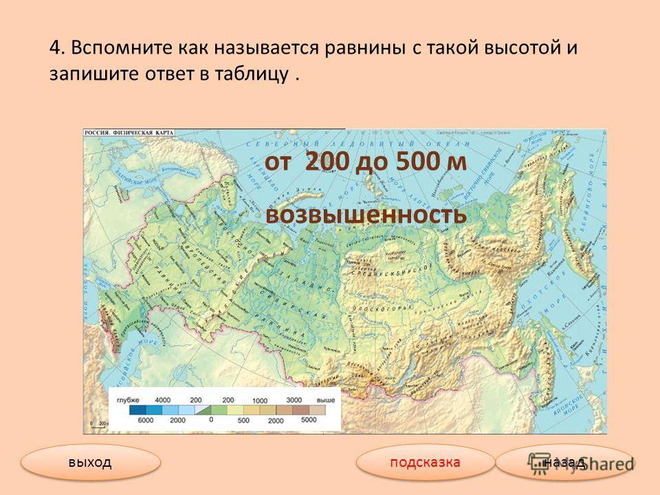 4. Вспомните как называется равнины с такой высотой и запишите ответ в таблицу. от 200 до 500 м возвышенность выход назад подсказка