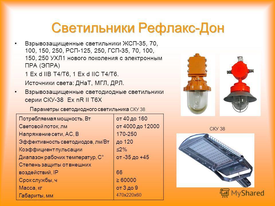 Взрывозащищенные светильники ЖСП-35, 70, 100, 150, 250, РСП-125, 250, ГСП-35, 70, 100, 150, 250 УХЛ1 нового поколения с электронным ПРА (ЭПРА) 1 Ex d IIB T4/T6, 1 Ex d IIC T4/T6. Источники света: ДНаТ, МГЛ, ДРЛ. Взрывозащищенные светодиодные светильн
