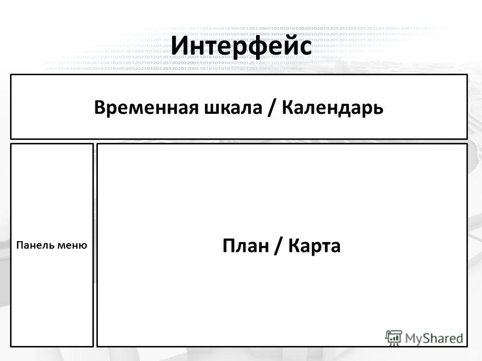 Временная шкала / Календарь План / Карта Панель меню Интерфейс