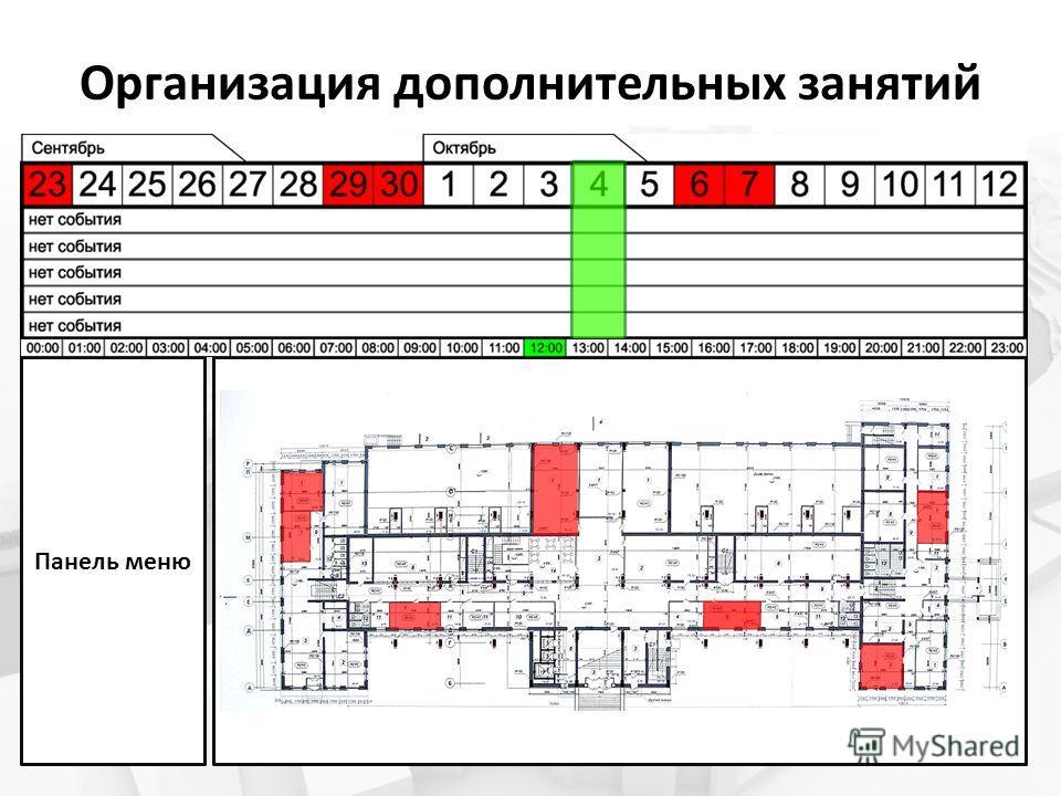 Организация дополнительных занятий Панель меню