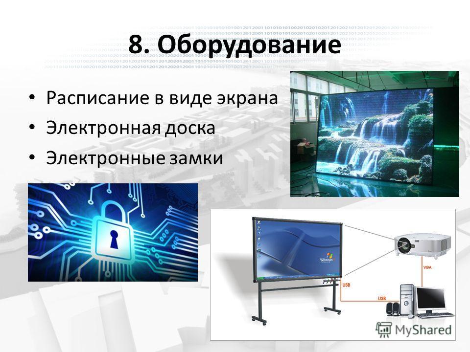 8. Оборудование Расписание в виде экрана Электронная доска Электронные замки
