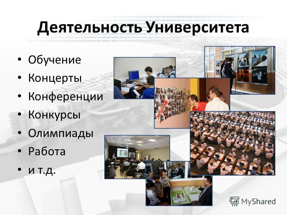 Деятельность Университета Обучение Концерты Конференции Конкурсы Олимпиады Работа и т.д.