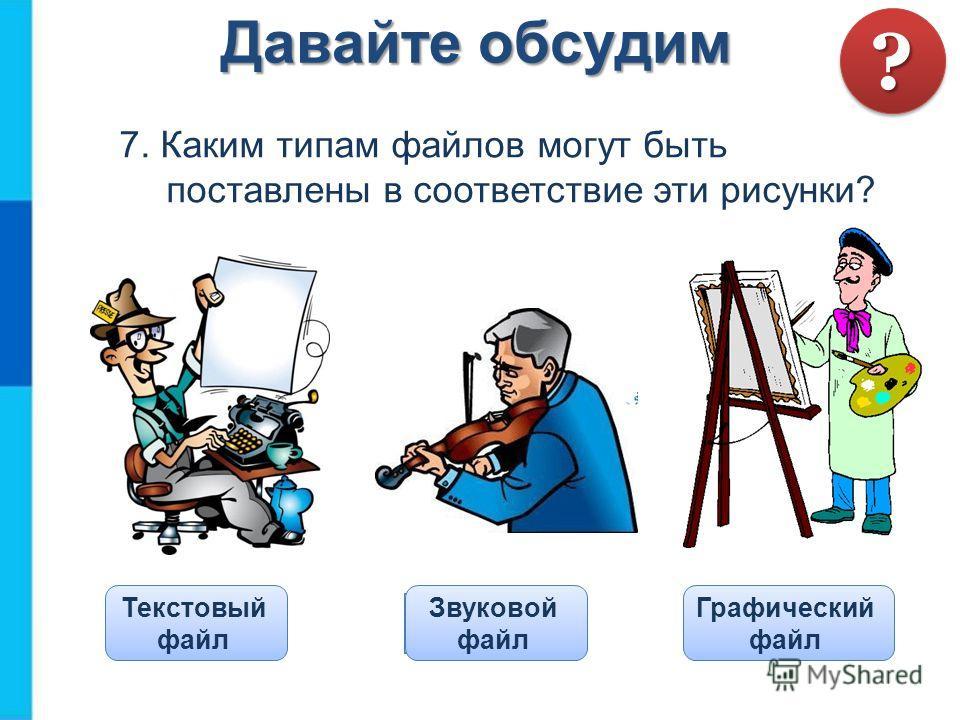 7. Каким типам файлов могут быть поставлены в соответствие эти рисунки? Давайте обсудим ?? Проверка Текстовый файл Звуковой файл Графический файл
