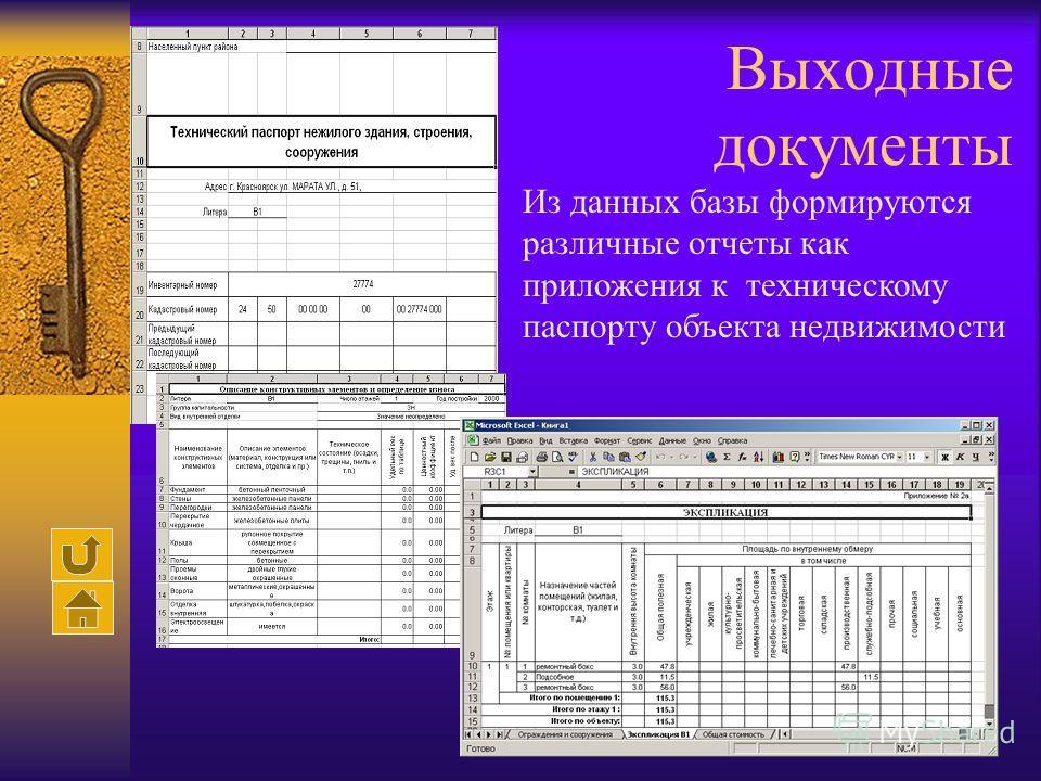 Выходные документы Из данных базы формируются различные отчеты как приложения к техническому паспорту объекта недвижимости